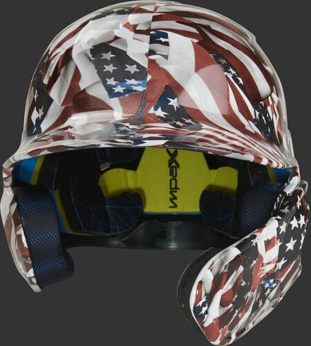 Front of a MACHEXTR-USA Rawlings Mach EXT batting helmet with a USA flag hyro dipped design