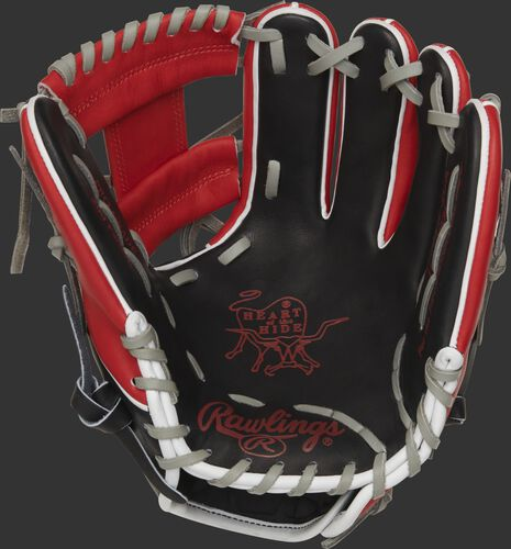 PRO204W-2CA Rawlings HOH Canada glove with a black palm, scarlet palm print and grey laces