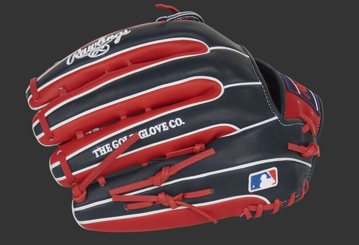 Scarlet/Navy back of a Rawlings Pro Preferred H-web glove with the MLB logo on the pinkie - SKU: PROS3319-6SN