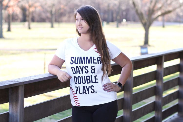 Right Side of Rawlings Women's Summer Days & Double Plays T-Shirt - SKU #RA30001-400