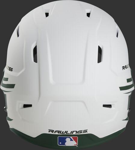 Back of a white/dark green Rawlings Mach fastpitch helmet with the MLB logo on the bottom - SKU: MSB13S-W/DG