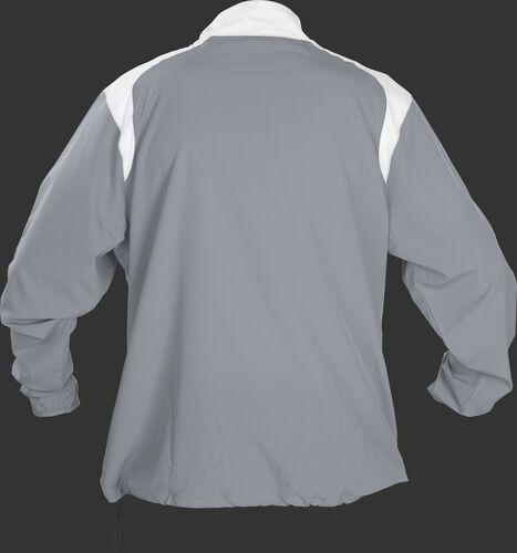 Back of Rawlings Gray Youth Long Sleeve Quarter-Zip Jacket - SKU #YFORCEJ-B-89