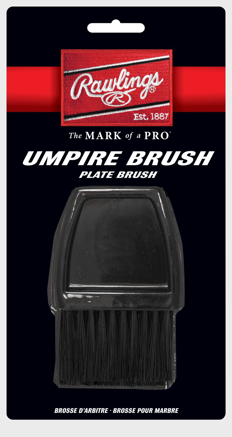 A black UBR Rawlings Umpire brush in the packaging
