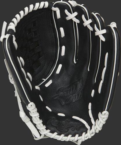 Black palm of a RSO125BW Rawlings Shut Out softball glove with white laces