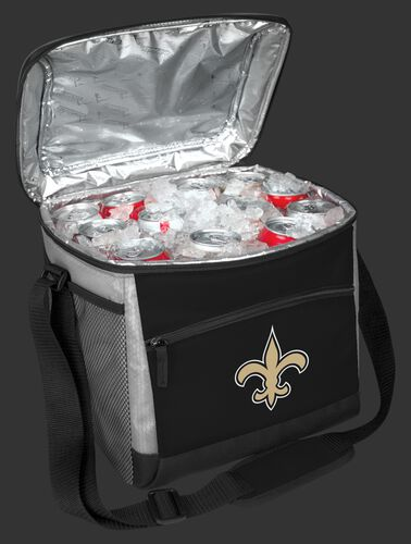 An open New Orleans Saints 24 can cooler filled with ice and drinks - SKU: 10211077111