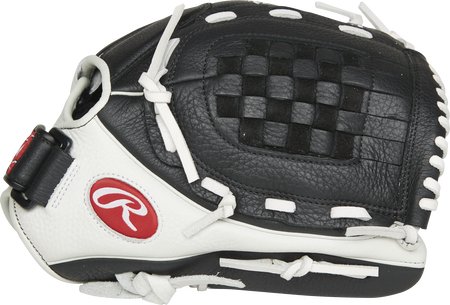 Thumb of a black/white RSO120BW Shut Out 12-inch infield/pitcher's glove with a black Basket web