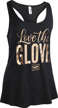 """A black women's tank top shirt with """"Love the Glove"""" printed in gold"""