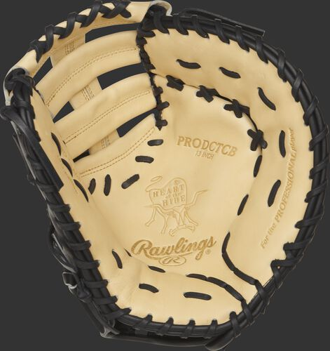 PRODCTCB Rawlings 13-inch first base mitt with a camel palm and black laces