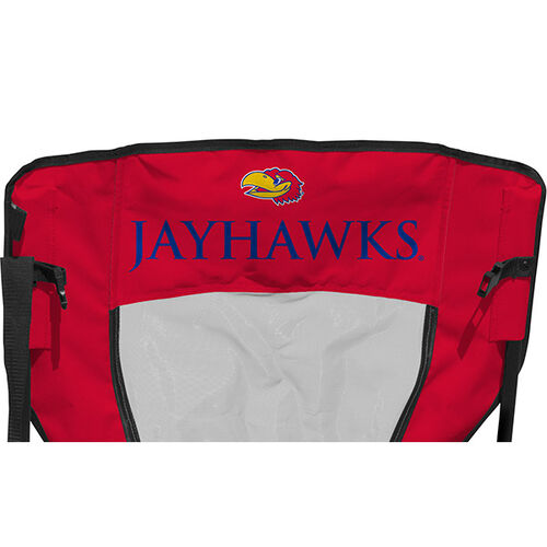 Back of Rawlings Red and Blue NCAA Kansas Jayhawks High Back Chair With Team Name SKU #09403034518