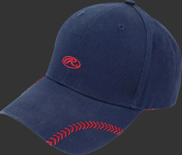 Front of Rawlings Women's Change Up Navy Baseball Stitch Oval-R Logo Hat - SKU #RC40000-400