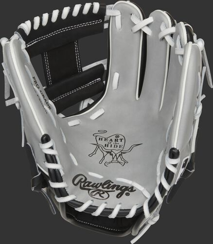 Gray palm of a Rawlings Chicago White Sox HOH glove with white laces - SKU: RSGPRO204-2CHW