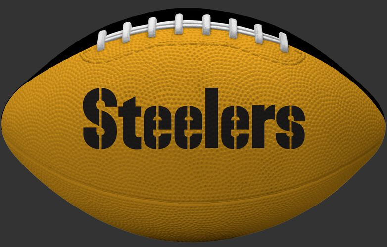 Yellow side of a Pittsburgh Steelers Gridiron tailgate football with team name SKU #09501082122
