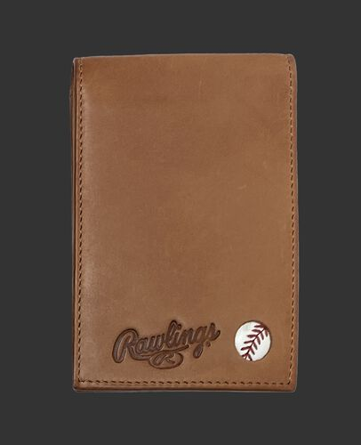 A tan Play Ball front pocket wallet with the Rawlings logo and ball emblem in the bottom right corner - SKU: MW496-204