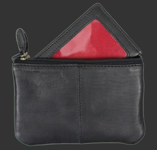 Back of a black Rawlings Baseball Stitch coin purse with the internal ID slot - SKU: RS10013-001