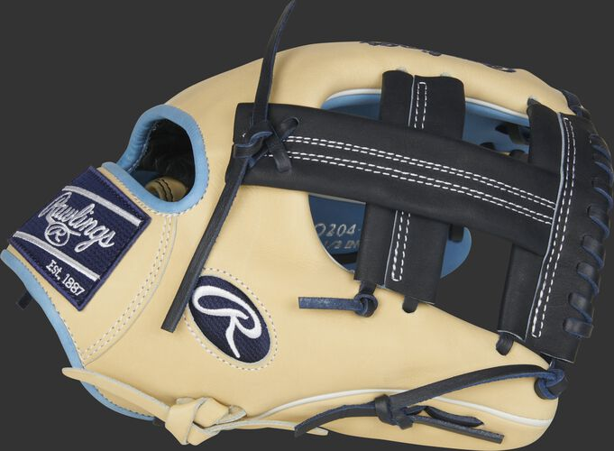 Thumb of a camel 2021 Rawlings Heart of the hide 11.5-Inch infield glove with a navy Single Post web - SKU: PRO204-20CB