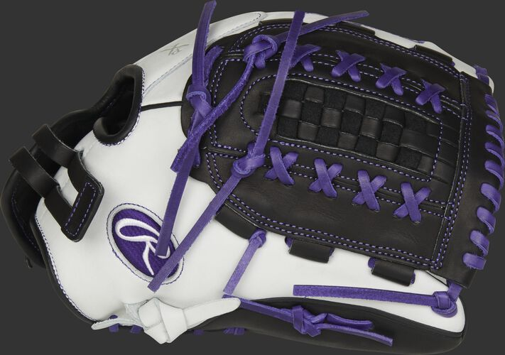 Thumb of a white RLA125-18PU Liberty Advanced Color Series 12.5-inch fastpitch glove with a black Double Laced Basket web