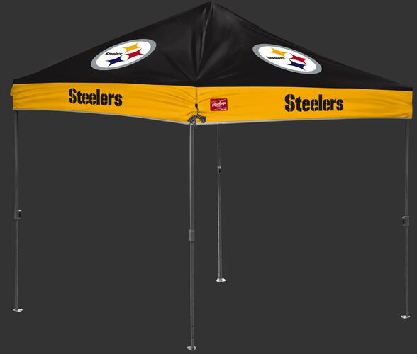 A black/gold NFL Pittsburgh Steelers 10x10 canopy with team logos on each side - SKU: 02231082111