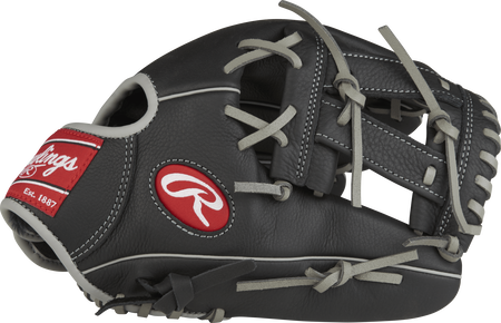 Thumb view of a black SPL150MM Manny Machado 11.5-inch Select Pro Lite youth infield glove with a black V web