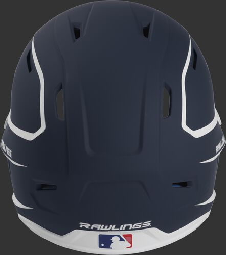 Back of a navy/white MACH high performance senior helmet with the Official Batting Helmet of MLB logo