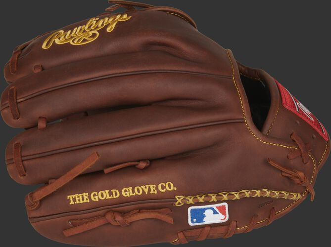 Timberglaze fingers of a HOH 11.75-inch infield/pitcher's glove with hand-sewn welting and MLB logo - SKU: PRO205-9TI