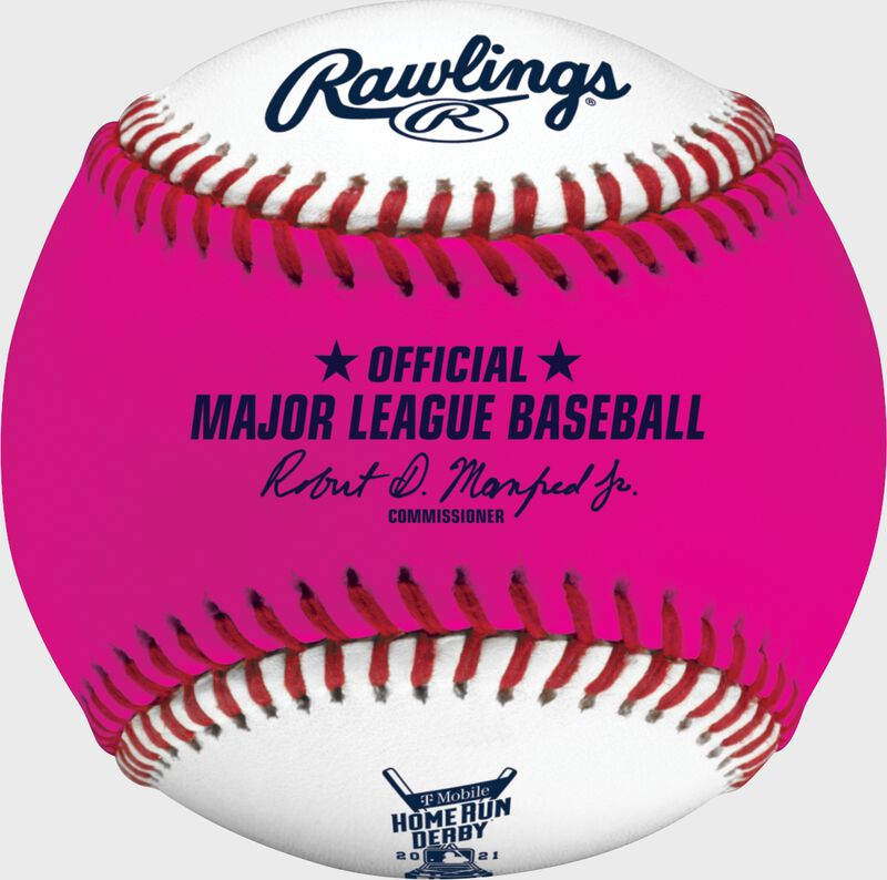 A pink/white MLB 2021 Home Run Derby money baseball with the official ball of MLB stamp - SKU: RSGEA-ROMLBMB21-R