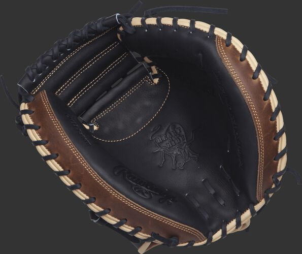 PROCM33BSL 33-inch Heart of the Hide catcher's mitt with a black palm and black laces