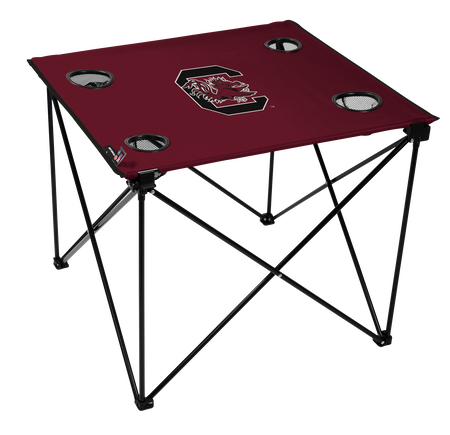 A maroon NCAA South Carolina Gamecocks deluxe tailgate table with four cup holders and team logo printed in the middle