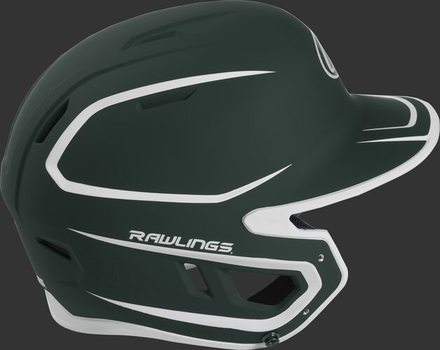 Right side of a two-tone matte dark green/white MACH helmet