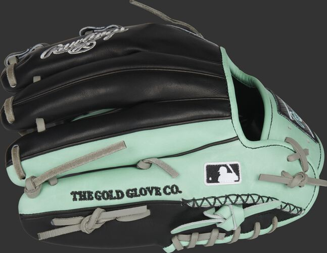 Black/Ocean mint back of an 11.5-Inch Heart of the Hide single post web infield glove with the MLB logo on the pinky - SKU: PRONP4-20BOM