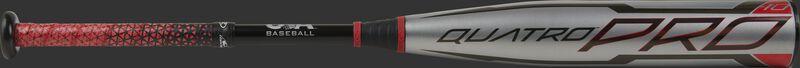 A Rawlings 2021 Quatro Pro -10 USA bat with a silver barrel, black handle and Lizard Skins grip - SKU: US1Q10