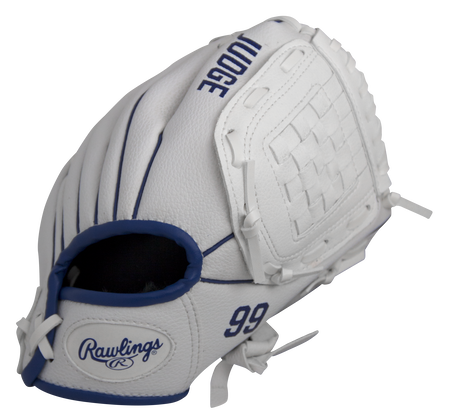 Back of a white MLBPA 9-inch Aaron Judge player glove