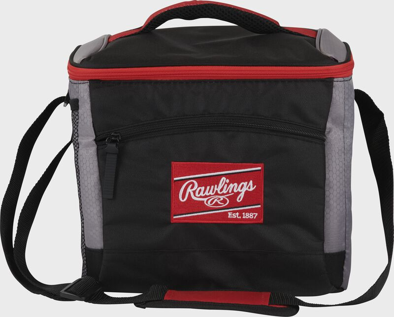 Front of a black Rawlings 24 can soft sided cooler with a red Rawlings patch embroidered on the front - SKU: 10224043511