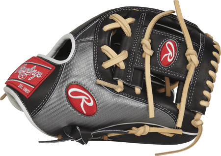 Rawlings PRO204-2BCF Heart of the Hide Hyper Shell infield glove with a carbon fiber/back thumb and a black I web