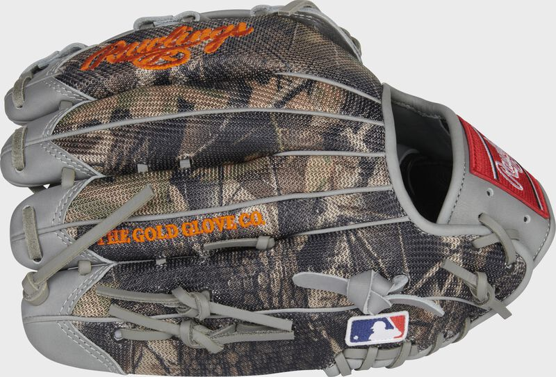 Camo mesh back of a Trent Grisham G57 Heart of the Hide glove with a MLB logo on the pinky - SKU: RSGPRO3029-TG2