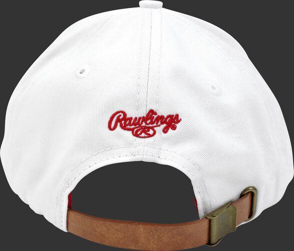 Back of Rawlings Women's Change Up White Baseball Stitch Oval-R Logo Hat - SKU #RC40000-100
