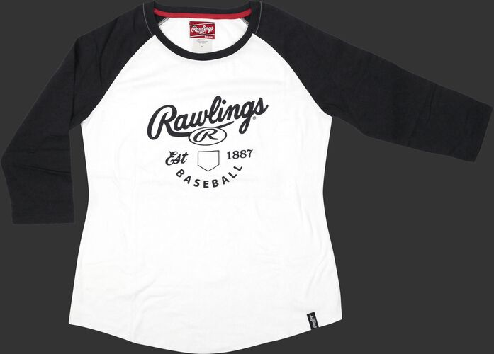 Front of Rawlings White/Navy Women's EST Raglan Baseball T-Shirt - SKU #RA30002-400