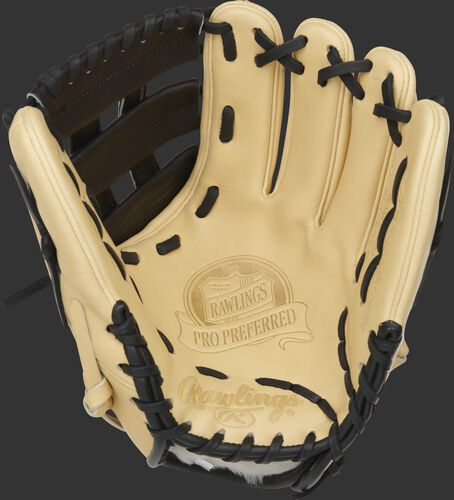 Camel palm of a G57 Series Brandon Crawford glove with a black and laces - SKU: PROS204-BC35