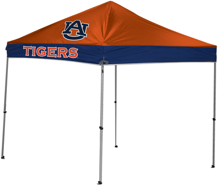 A NCAA Auburn Tigers 9x9 canopy with an orange top and screen printed logo on top