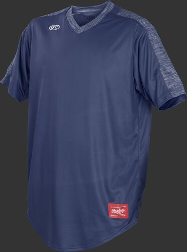 Front of Rawlings Navy Youth Short Sleeve Launch Jersey  - SKU #YLNCHJ-DG-89