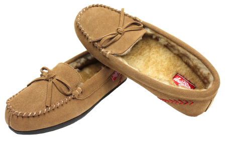 Two RF50007-204 Baseball stitch women's moccasin slides with cow suede and faux fur lining