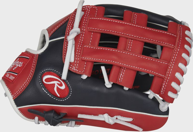 Thumb of a navy/scarlet 2022 Breakout 12-Inch youth outfield glove with a scarlet Pro H-web - SKU: RSGBOYPT6-6NS