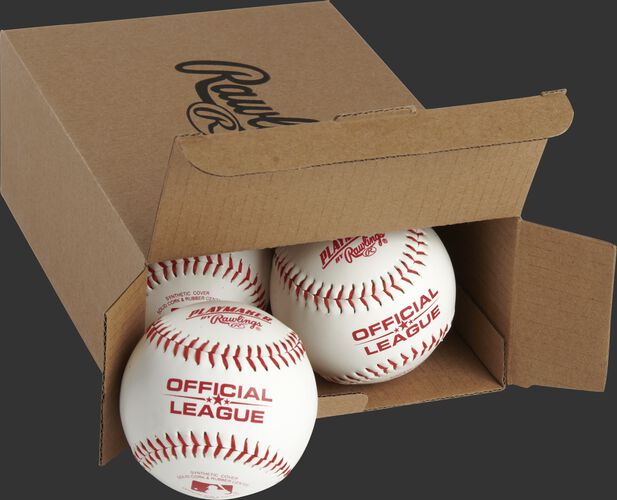 Official League Playmaker baseballs inside a Rawlings box - SKU: PMBBPK6