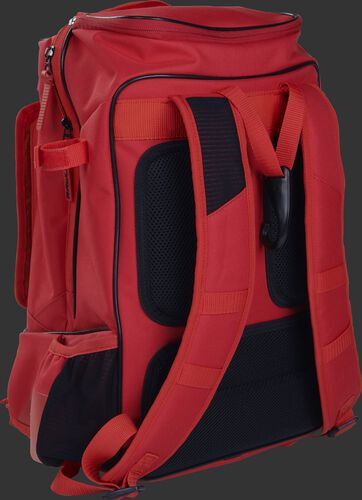 Left back view of a scarlet R701 training bag with royal shoulder straps and black padding