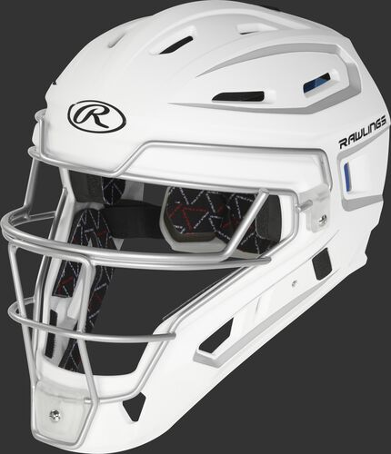 CHV27J white/silver Velo 2.0 youth catcher's helmet with white trim