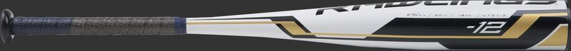UTZT12 Threat -12 USSSA bat with a white barrel and navy/gold grip