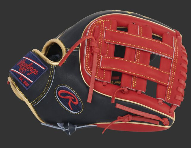 Thumb of a navy/scarlet exclusive Heart of the Hide 11.75-Inch infield glove with a scarlet H-web - SKU: PRO315-6NS