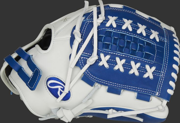 Thumb of a white RLA125-18R Liberty Advanced Color Series 12.5-inch fastpitch glove with a royal Double Laced Basket web