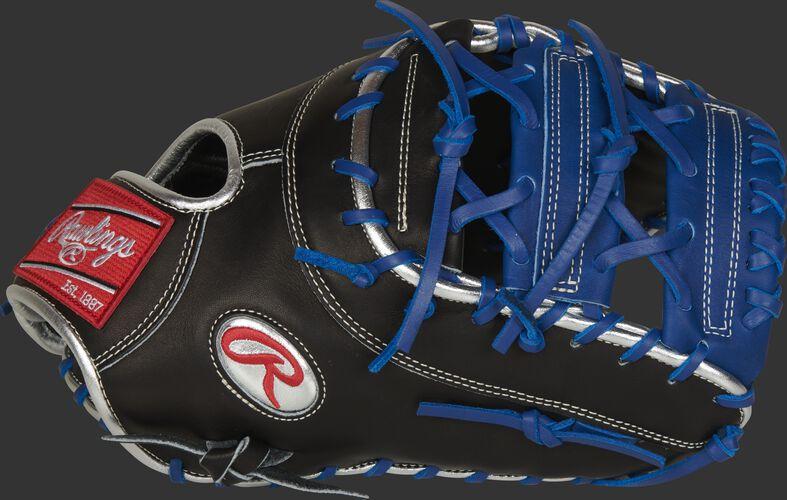 Thumb of a black 2021 Anthony Rizzo 1st base mitt with a platinum Oval-R and royal Horizontal Bar web - SKU: PROSAR44B