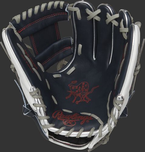 PRO204-2USA Rawlings HOH USA glove with a navy palm, scarlet palm print and grey laces