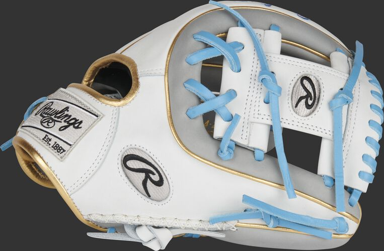 Thumb of a white/gray 11.5-Inch Heart of the Hide ColorSync 5.0 infield glove with a white I-web - SKU: PRO314-2GW